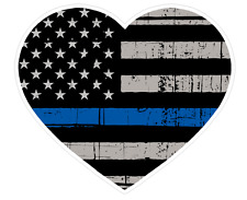 Heart Shape (V53) Thin Blue Line Vinyl Decal Sticker Love Car Laptop/Netbook