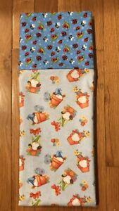 Homemade Cotton Gnomes In Pots & Ladybugs Pillowcase - handmade, std size