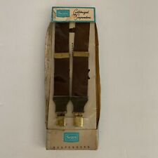 Vintage Brown Suspenders Braces Sears With Leather Ends and Brass Adjusters NIB
