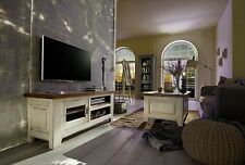 Wohnzimmer Komplett Set 3teilig Eiche Massiv Holz TV Board Regal 2farbig Antik