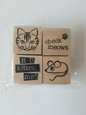 Recollections Wooden Stamps - Set of 4 - cat, mouse - NIP                 D3