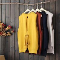 Women Casual Knit Vest Gilet Sleeveless Sweater Jumper Waistcoat Pullover Tops