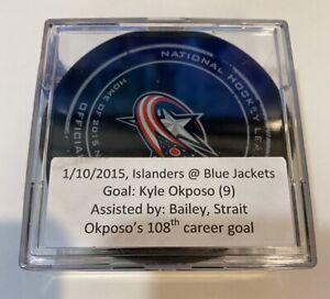 GAME USED SCORED GOAL PUCK KYLE OKPOSO NEW YORK ISLANDERS BAILEY ASSIST