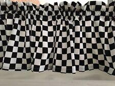 New Black & White Checker  Nascar Racing Valance Curtain Broadcloth