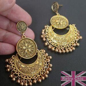 BIG 6cm long CHANDELIER ornate gypsy EARRINGS boho retro filigree ANTIQUE GOLD