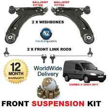 FOR VAUXHALL COMBO FRONT 2 WISHBONE ARMS 2 STABILISER LINK BARS SUSPENSION KIT