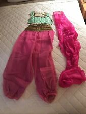 Vintage 1960s hot Pink Green I dream of Jeannie Belly Dancer Costume & Scarf