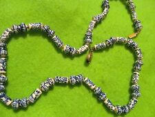 Vintage Antique Chinese Hand Knotted Blue White Delft Style Ceramic Necklace