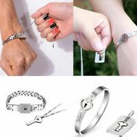 Titanium Steel Gift Couple Lovers Lock & Key Bangle Jewelry Pendant Necklace