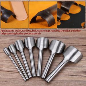 7X Leather Craft Half-Round Cutter Punch Strap Tools Belt Wallet End DIY 10-40MM