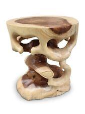 Teakwood Side Table Solid Wood Table Flower Stand Carved Bali Furniture Wood