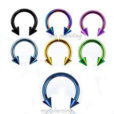 "2pcs 16G~5/16"", 3/8"" Anodized 316L Spike Horseshoe Circular Barbell Ears Labret"