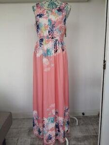Yumi Coral Floral Print Maxi Dress Size UK 12 YD000083 BNWT