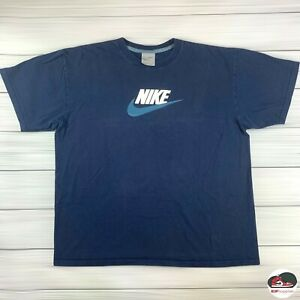 Vintage Nike T-Shirt Men's Large Navy Blue Spell Out Swoosh Graphic 2000