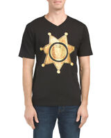 NEW Versace V1969 Italia Sheriff V-Neck Tee Men's  Black Gold Lion Head logo M L