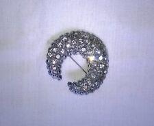 Vintage 1970s Diamante/Bead Steel Crescent Pin Brooch, Unbranded