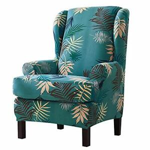 Stretch Wing Chair Slipcover (2 Pieces) - Wingback Armchair Chair Printed Cover