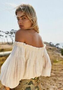 FREE PEOPLE DANCING TILL DAWN IVORY COTTON OFF SHOULDER TOP (SIZE M) RRP £68