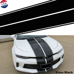 4-line 78'' Black Racing Stripe Hood Roof Vinyl Sticker For Chevy Camaro