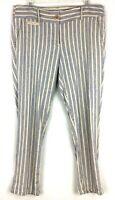 ANN TAYLOR LOFT Womens Size 10 Marisa Striped Linen Blend Pants 36x26