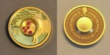 2003 Cook Is. Gold plated Silver w/Gemstones $1 Zodiac- Capricorn/Rubies