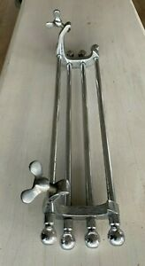 "Antique 15"" Chrome Brass Sink Towel Bar Rack Clamp On Vtg Bathroom Old   24-21J"
