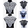 Black&White Embroidery Big Flowers Lace Neckline Fabric DIY Collar Sewing Craft