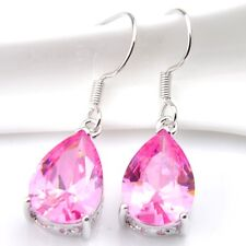 Classical Drop Design Natural Pink Fire Topaz Gems Silver Dangle Hook Earrings
