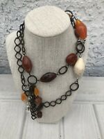"""Vintage 37"""" Chunky Swirl Lucite Beads On Bronze Tone Necklace Chain - Inc Ship"""