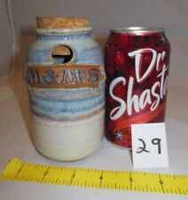 VINTAGE VERY RARE STONEWARE POTTERY CLAY M & M BOTTLE DISPENSER WITH CORK