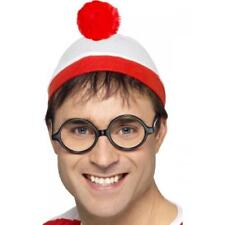 Where's Wally? Hat & Glasses Fancy Dress Adult Kids Book Week Costume Accessory