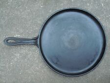 """Antique Cast Iron 10"""" Shallow Skillet Griddle Fry Pan Gate Mark Smoke/Heat Ring"""