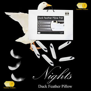 2x Luxury 100% Duck Feather Down Pillows Comfortable Extra Filling Hotel Quality