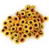 100x Kuenstliche Gerbera Blumen Koepfe fuer DIY Hochzeit (Gelbe Sonnenblume) GY
