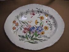 """Vintage Wedgwood Ranunculus Oval Platter 14 1/2"""" Shell Edge Multi-Color Flowers"""