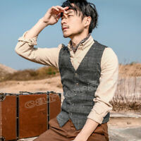 Retro Mens Business Formal Dress Tweed Plaid Wool Blend Vest Slim Fit Waistcoat