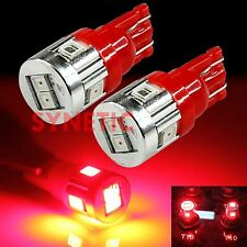 2x T10/168/921 2835 Chip Red 6-LED Center 3rd Brake Stop Interior Tail Lights