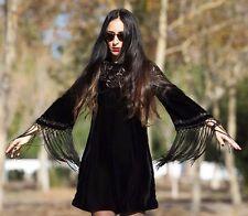 ZARA Black Sequin & Embroidery Velvet Dress with Fringes M  NEW ** RARE **