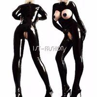 Latex Catsuit Open Bust Bodysuit Cat Women's Costume Lingerie Jumpsuit Clubwear