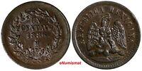 Mexico SECOND REPUBLIC Copper 1886 Mo 1 Centavo  KM# 391.6