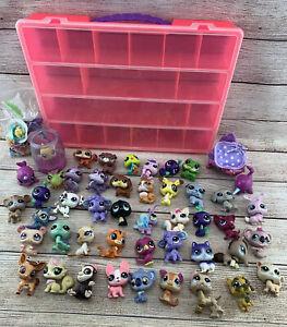 Littlest Pet Shop LPS Figure Lot Of 46 Accessories Travel Storage Case Animals