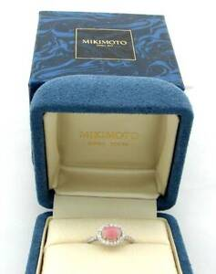 MIKIMOTO PINK CONCH PEARL PLATINUM DIAMOND RING