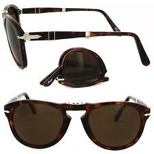 Persol Men's Steve McQueen 24/57 Havana Foldable Plastic Polarized Sunglasses 52