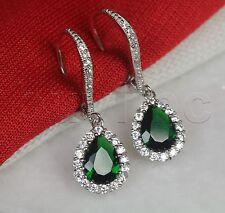 Nickel Free 925 Silver Pear Dangle Leverback Green Halo Earrings 2.86Ct/Pair