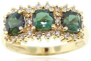 0.50ct Natural Round Diamond 14k Solid Yellow Gold Emerald Cluster Ring 7