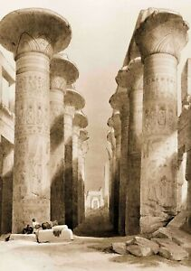 Pro Satin A3 Art Print, Great Hall at Karnak temple in Thebes by David Roberts