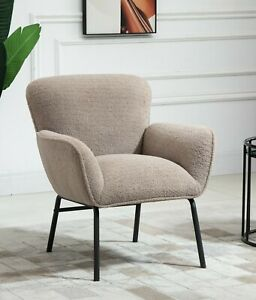 Camel Boucle Armchair Lounge Chair Accent Retro Armchairs