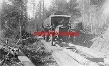 1920 OREGON Early Pacific Northwest Logging Truck hauling log, timber roadway