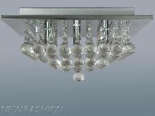 Modern Square Genuine Crystal Droplet Ceiling Light Pendant Lamp Chandelier