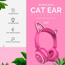 Wireless Foldable Cat Ear Headphones With Glowing Lights for Smartphone Iphone X